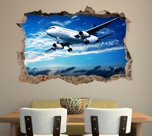 Airplane-3D-Smashed-Wall-Sticker-Decal-Home-Decor-Art-Mural-Plane-Aircraft-J738