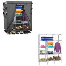 "Portable Closet Storage Organizer Clothes Wardrobe Rack with Shelves Gray 69"""
