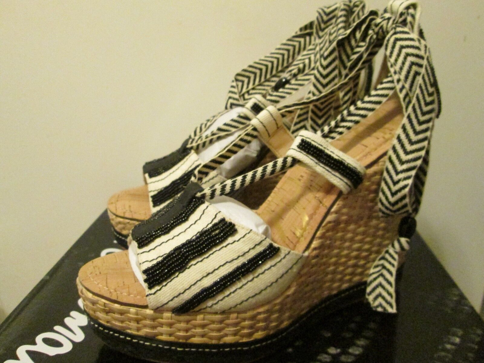 Sam Edelman Trey Black White Hand Beaded Safari Platform High Heel Sandal 8.5