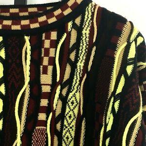 VTG-90s-Bergati-Pullover-Herren-L-multicolor-laut-Print-3d-Texturiert-Hip-Hop-Bill-Cosby