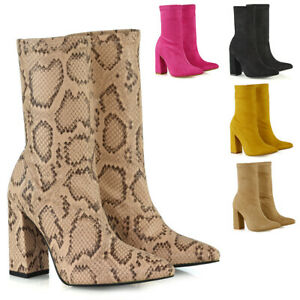 Womens-Sock-Stretch-Ankle-Boots-Ladies-Pull-On-Sock-Block-High-Heel-Shoes