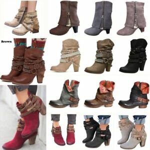 1635413a6d88 Winter Women Mid Heel Short Ankle Boots Martin Snow Botas Retro PU ...