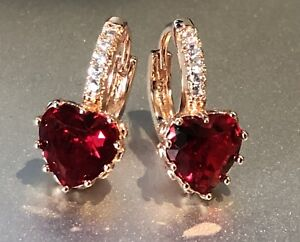 Details About 14k Rose Gold Gp Red Heart Earrings Made W Swarovski Crystal Garnet Stone