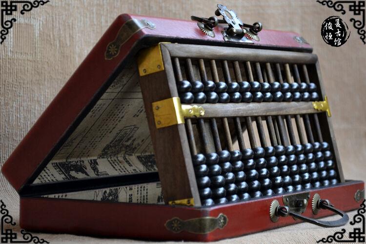 Kinesisk antik träskinnlåda drake Abacus Calculator 15Axel &Instruktioner