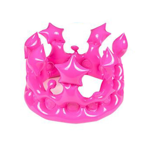 """13.25"""" INFLATABLE KING / QUEEN PINK CROWN FANCY DRESS ACCESSORY HAT LORD + LADY"""