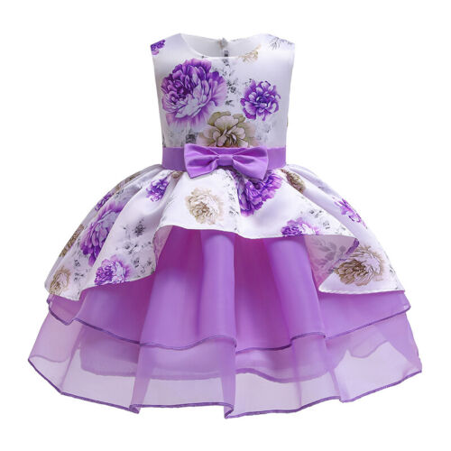 Flower Girls Formal Layered Wedding Dress Bridesmaid Party Dress Age 2 to 10 Y