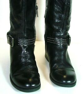Jessica-Simpson-Leather-Buckle-Studs-Zip-Knee-High-Riding-Boots-Sz-6-5-M-Black