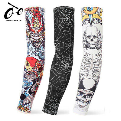 Tattoo Arm Warmer Cuff Sleeve Covers Men Cycling Bicycle UV Sun Block Protection