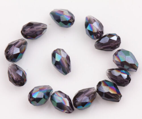 Teardrop Czech Drop Faceted DIY Glass Crystal Loose Spacer Beads Finding Accesso