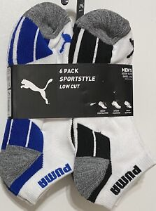 Puma-Men-039-s-SportStyle-Cushioned-6-Pair-Low-Cut-Socks-White-Black-Blue-Gray