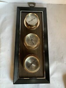 Vintage-Springfield-Instruments-Weather-Station-Thermometer-Barometer-Humidity