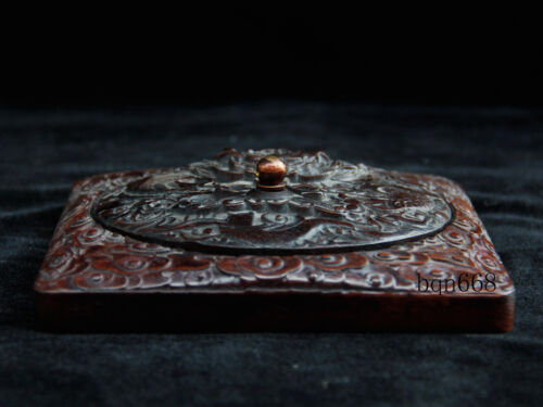 """6/"""" China antique qing huanghuali wood dragon Inkstone Stationery statue"""