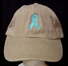 Teal Awareness Ribbon Butterfly Baseball Hat White Cap Ovarian Cancer Embroidery