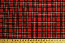 100% BRUSHED COTTON TARTAN - ROYAL STEWART -  RED & GREEN - width 150 cms