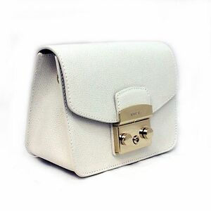 Image Is Loading Woman Bag Furla Metropolis White Leather Mini