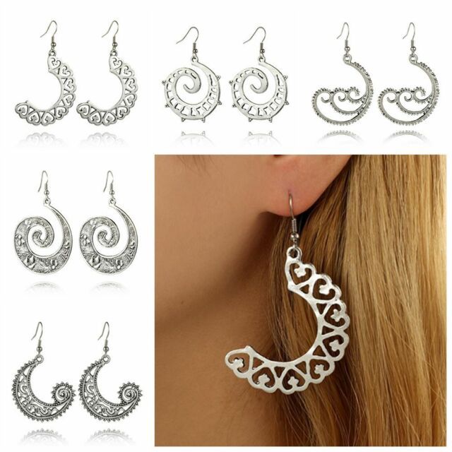 Women's Circles Round Spiral Dangle Earring Charm Unique Party Earrings Jewelry