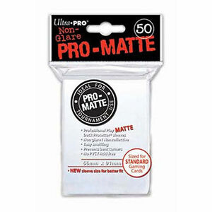 50-ULTRA-PRO-Pro-Matte-Deck-Protector-Card-Sleeves-Magic-Standard-82651-White