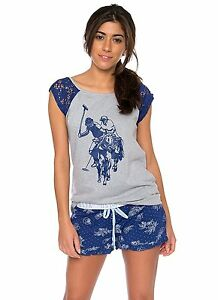 U.S. Polo Assn. Women's 2 Piece Printed Tank Top and Shorts Pajama Sleepwear Set