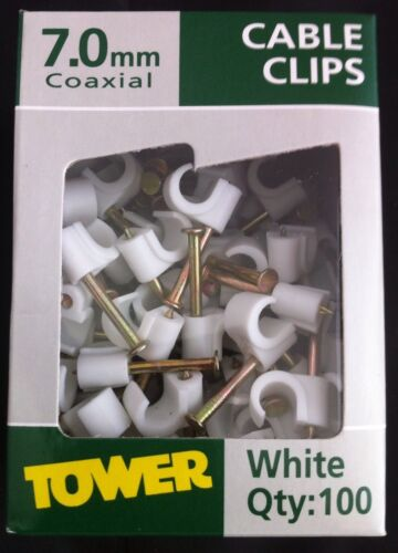 TOWER JOB LOT 1000 WHITE 7MM ROUND CABLE CLIPS TV AERIAL SATELLITE SKY COAX FLEX