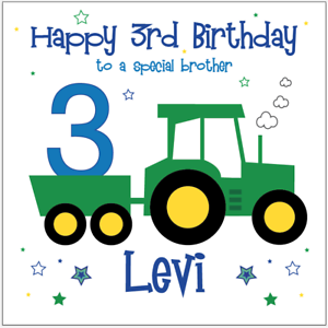Image Is Loading Personalised Birthday Card TRACTOR Son Nephew Brother Grandson