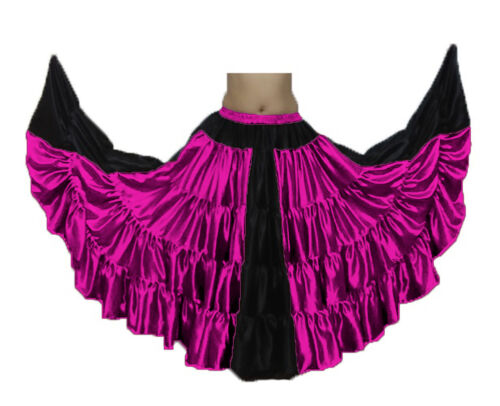 MAGENTA Satin 25 Yard 4 Tiered Skirt Belly Dance Tribal Flamenco JUPE ATS