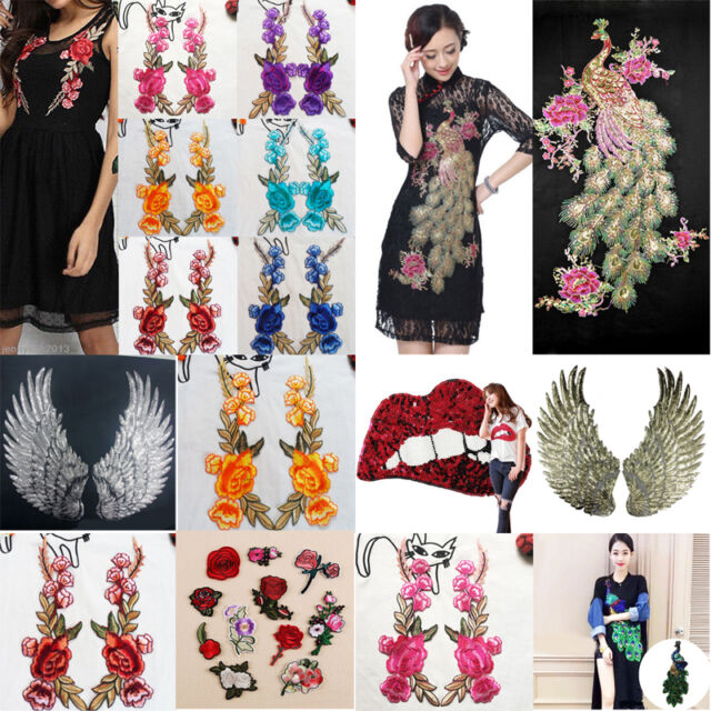 1ed608806d942 Peacock Embroidery Rose Flower Sew Iron On Home Patch Badge Dress Cloth  Applique