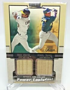 Eric Chavez Miguel Tejada 2002 Flair Power Tools Game Used Bat Oakland A's MINT