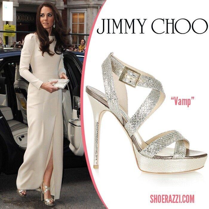 Jimmy Choo 40, Uk 7 Vamp Silver Heels, As Seen On