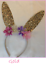 Easter-Bunny-Glitter-Ears-Headband-w-Flowers-Gold-OR-Pink-Peter-Rabbit thumbnail 3