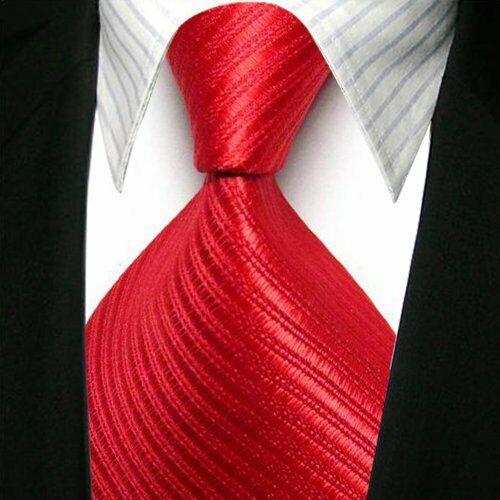 Classic Striped Ties WOVEN JACQUARD Silk Men/'s Suits Tie Necktie Red #L026