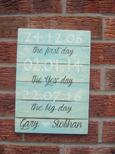 shabby vintage chic THE FIRST DAY YES DAY /& BEST DAY personalised wedding plaque