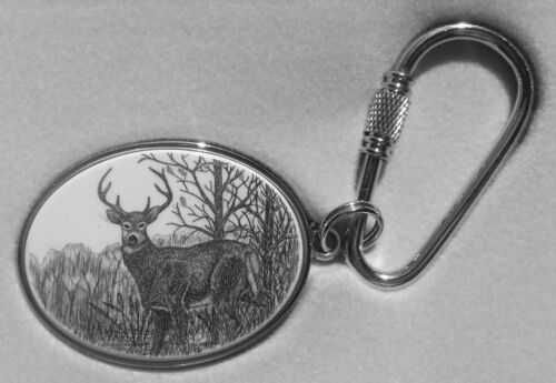 Key Ring Barlow Scrimshaw Carved Painted Art Silver Deer Standing 302605