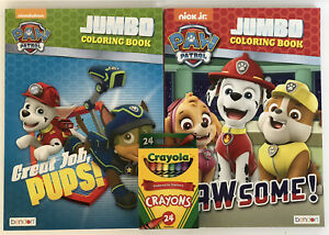 2-Nickelodeon-Paw-Patrol-Jumbo-Coloring-amp-Activity-Books-Crayons-Chase-Skye