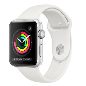 Apple Watch Series 3 42mm Silver Aluminum Sport Band Case Black (GPS Only) White