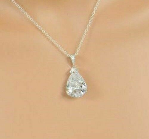 14K White Gold Over 1.00 Ct Pear Cut Diamond Solitaire Chain With Pendant