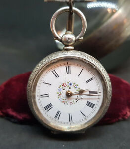 ANTIQUE-935-SOLID-SILVER-LEVER-FOB-POCKET-WATCH-LADIES-FLOWERS-DIAL-WITH-KEY