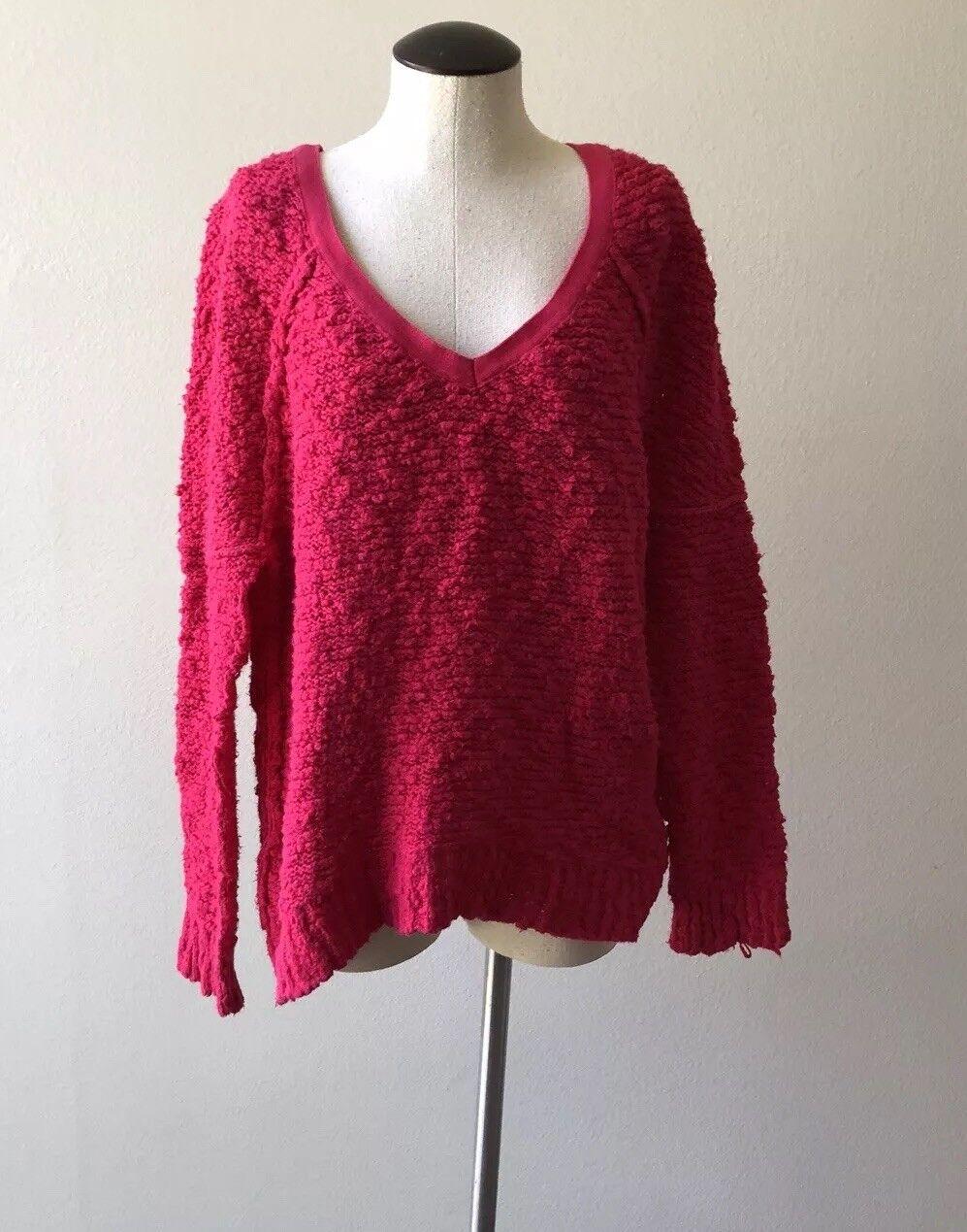 FREE PEOPLE  Petite Small Oversize Magenta Cotton Sweater Sz P S