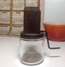 Vintage Hazel Atlas Glass Jar & Grinder for Nuts/Nutmeg- Androck Chopper