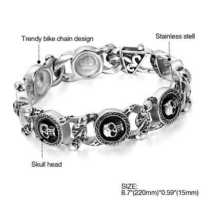 """Men Heavy Skull Biker Motorcycle Link Chain Stainless Steel Bracelet Bangle 8.7/"""""""