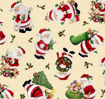 Fat Quarter Christmas Time Santas Cotton Quilting Fabric 50cm x 55cm