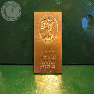 "/""Eagle Head/"" 4 oz .999 COPPER fine bar 2011 design not minted Limted /& Rare"