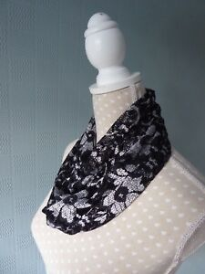 Black lace snood cowl scarf black and white lace loop scarf lace ... e9cd6aecc7d