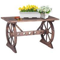 Ikayaa Wagon Wheel Wood Potting Bench Work Station Garden Plant Stand Table F4f4