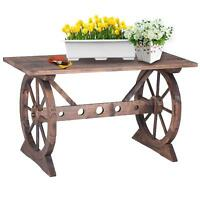 Ikayaa Wagon Wheel Wood Potting Bench Work Station Garden Plant Stand Table F4f4 on sale