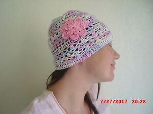 c4b6d82fe50 Image is loading WOMENS-HANDMADE-CROCHET-SUMMER-BEANIE