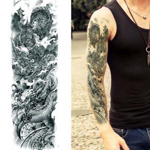 Japanese Dragon Warriors Temporary Tattoo Arm Sleeve Large Realistic