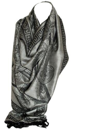 Paisley Print Two Sided Reversible Pashmina Feel Wrap Shawl Scarf Hijab Scarves