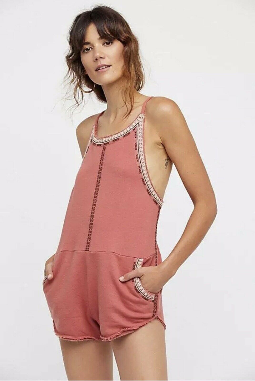 Free People FP One Lou Romper Knit Halter Embroidered One Piece Size SZ XS