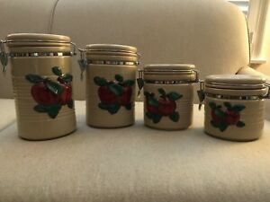 Set Of 4 Apple Kitchen Ceramic Canisters Creamy Beige W Red Apples Green Leaves Ebay