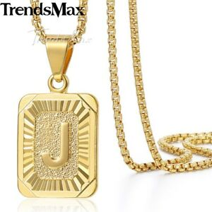 Mens Women Chain Pendant Necklace Gold Filled Square Initial